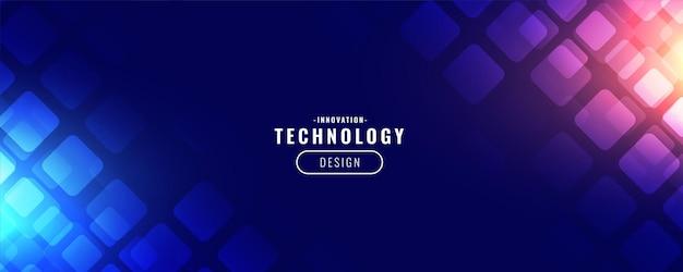 Digitales bannerdesign mit blauer technologie