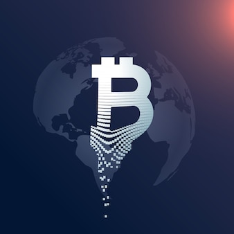 Digitales bitcoin kreatives symbol design mit weltkarte kulisse