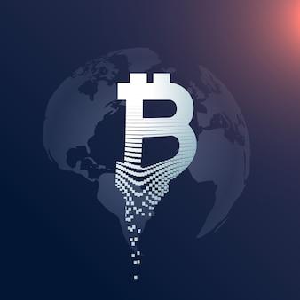 Digitales bitcoin kreatives symbol design mit weltkarte kulisse