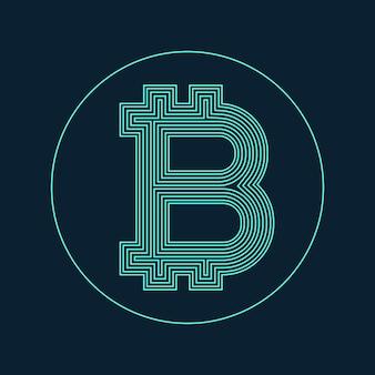 Digitales bitcoin währungssymbol vektorentwurf