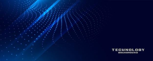 Digitales blau leuchtendes partikeltechnologie-banner