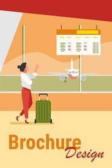Digitales board der abflugberatung der frau im flughafen. tourist mit flacher vektorillustration des wartenden koffers des koffers. reise-, urlaubskonzept