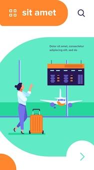 Digitales board der abflugberatung der frau im flughafen. tourist mit flacher vektorillustration des wartenden koffers des koffers