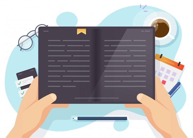 Digitales buch lesen oder elektronischer leser tablet-computer in menschen hand vektor flache cartoon illustration, mann lernen oder studieren e-book über arbeitsplatz schreibtisch