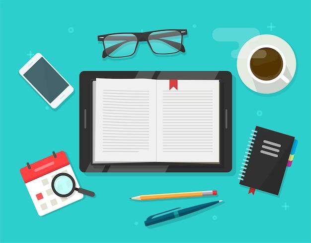 Digitales buchlesen, elektronischer notizbuchleser auf tablet-computer-cartoon-illustration