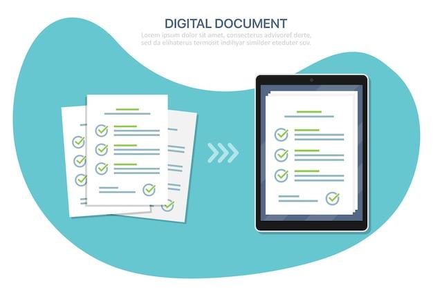 Digitales checklistendokument in tablet und papier in flachem design. vektor-illustration