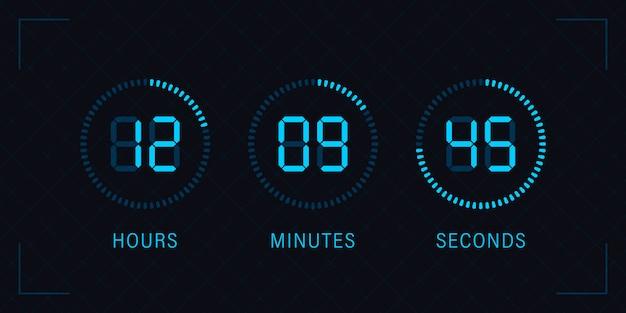 Digitales countdown-kreisbrett mit kreiszeit-kreisdiagramm. stoppuhrsymbol, digitaler timer. design im umrissstil für web und app.