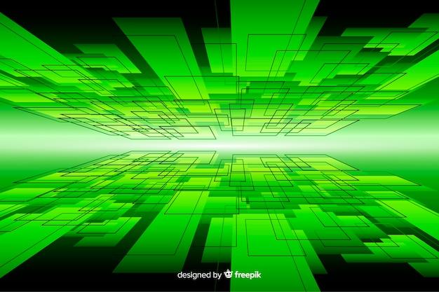 Digitales design des horizontes mit grünen lichtern