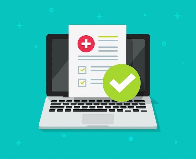 Digitales dokument der medizinischen verordnung oder on-line-testergebnisse berichten über flache karikatur des laptop-computer schirmes