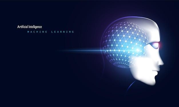 Digitales futuristisches technologiegesicht der abstrakten intelligenten künstlichen intelligenz