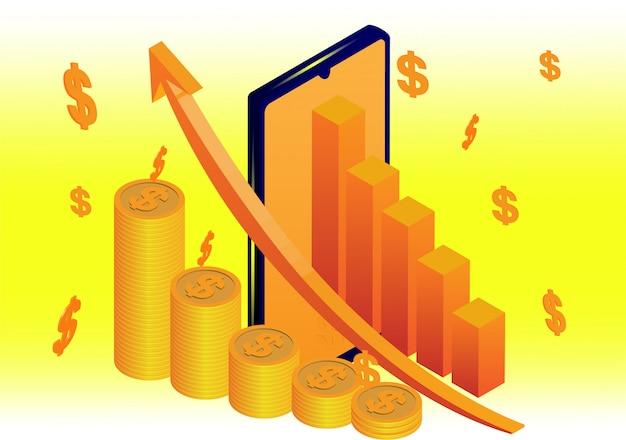 Digitales geld analysieren mit grafik und telefon