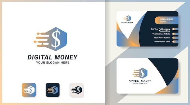 Digitales geld-logo-design und visitenkarte