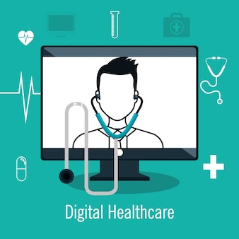 Digitales gesundheitswesen lokalisiertes ikonendesign