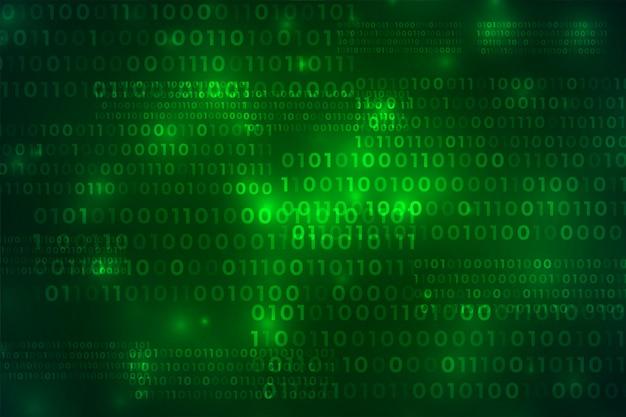 Digitales hintergrunddesign der grünen binärcode-technologie