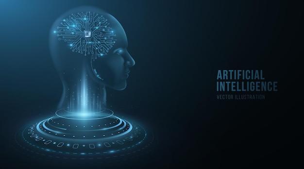 Digitales holografisches gesicht eines cyborg-mannes mit gehirn der künstlichen intelligenz. futuristischer humanoid analysiert big data. technologiehintergrund. neurales netzwerk. vektor-illustration. eps 10