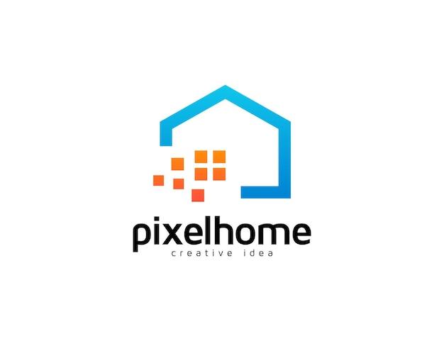 Digitales home-logo mit pixeldesign-illustration