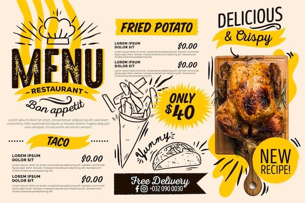 Digitales horizontales restaurantmenü mit fleisch und pommes