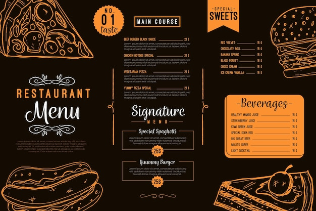 Digitales horizontales restaurantmenü schwarz und orange