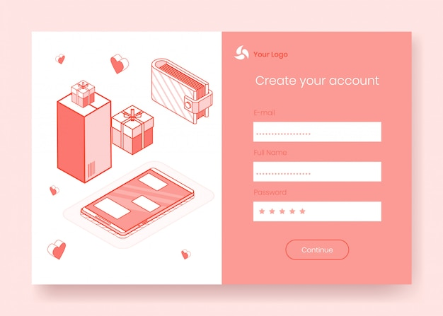 Digitales isometrisches designkonzept set