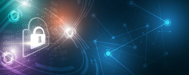 Digitales konzept der sicherheit cyber abstrakter technologiehintergrund schützen systeminnovations-vektorillustration