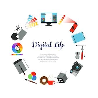 Digitales kunstdesignikonen-kreiskonzept mit platz für text in der mitte