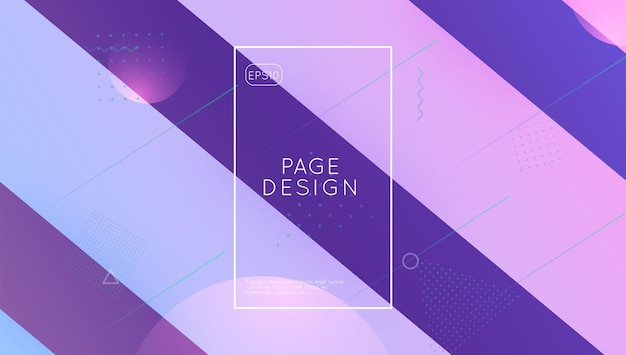 Digitales layout. farbverlauf-flyer. memphis-rahmen. violette mobile-fahne. mehrfarbiges magazin. futuristische abdeckung. liquid-website. wave-landingpage. lila digitales layout