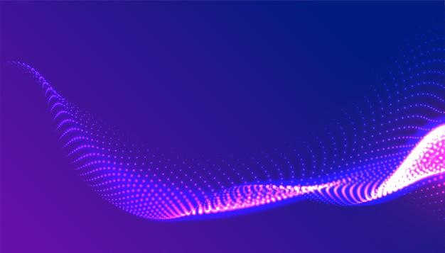Digitales leuchtendes lila teilchenwellenhintergrunddesign
