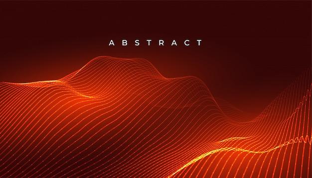 Digitales leuchtendes orange wellenlinienhintergrunddesign