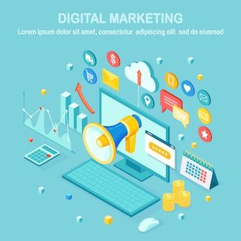 Digitales marketing. 3d isometrischer computer, laptop, pc mit geld, grafik, ordner, megaphon, lautsprecher, megaphon. geschäftsentwicklungsstrategie werbung. social media analyse design