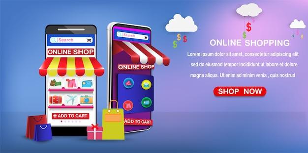 Digitales marketing auf app-smartphone. marketing und online-shopping Premium Vektoren