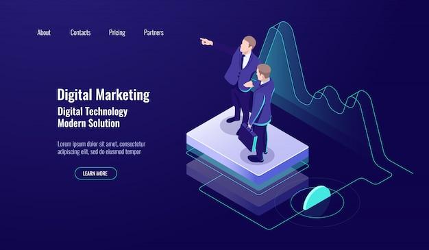 Digitales marketing der analytik, isometrisches konzept, teamarbeit, geschicklichkeit lehren, studienarbeiter, dunkles neon