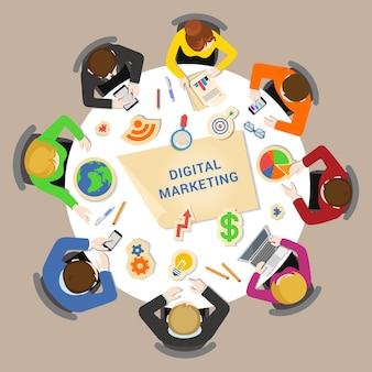 Digitales marketing für illustrationen von geschäftstreffen