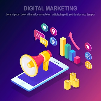 Digitales marketing. handy, smartphone mit geld, grafik, ordner, megaphon, lautsprecher, megaphon.