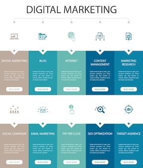 Digitales marketing infografik 10 option ui-design.internet, marketingforschung, soziale kampagne, pay-per-click einfache symbole
