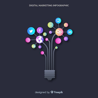 Digitales marketing-infografik Kostenlosen Vektoren