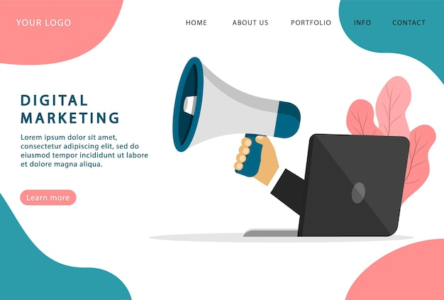 Digitales marketing. internet-werbung. digitale technologien. landing page. moderne webseiten.