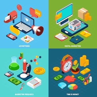Digitales marketing isometrisch