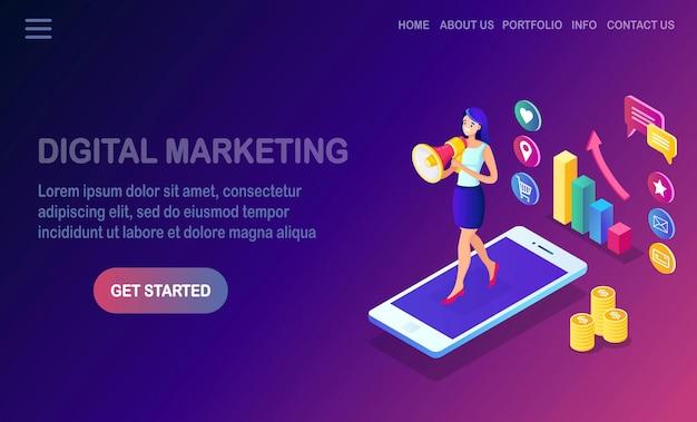 Digitales marketing. isometrische frau mit megaphon, lautsprecher, megaphon, handy, smartphone mit geld, grafik.