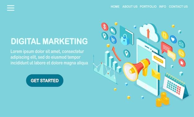 Digitales marketing. isometrisches handy, smartphone mit geld, grafik, ordner, megaphon, lautsprecher, megaphon. geschäftsentwicklungsstrategie werbung. social media analyse