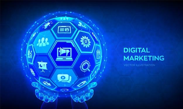 Digitales marketing-konzept. abstrakte kugel 3d mit oberfläche der hexagone in den wireframe händen.