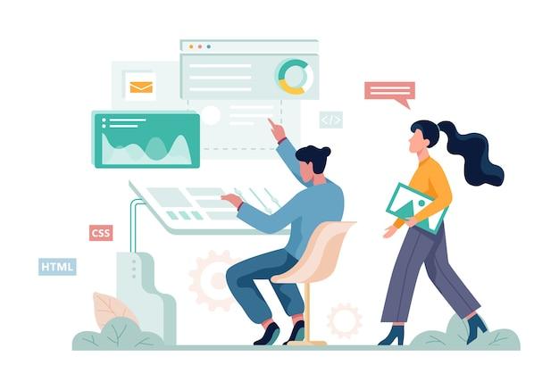 Digitales marketing-konzept-banner. soziale netzwerk- und medienkommunikation. seo, sem und online-werbung. illustration mit stil