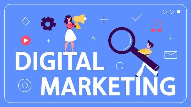 Digitales marketing-konzept-banner. soziales netzwerk, medien