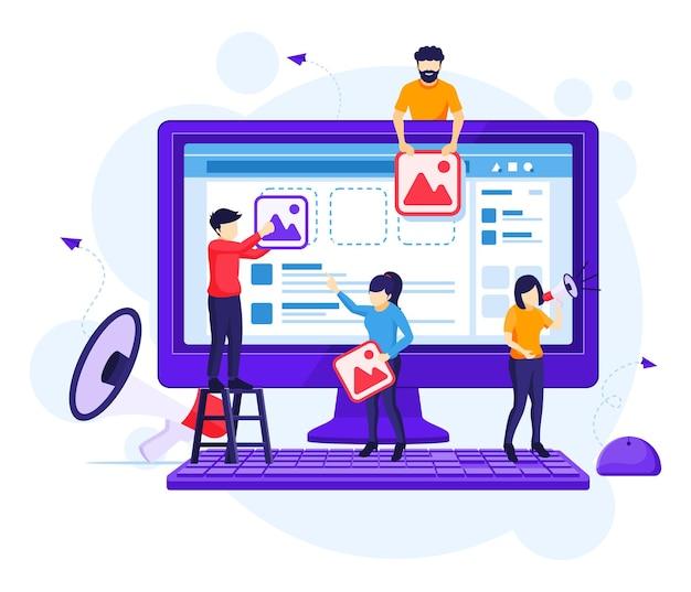 Digitales marketing-konzept, leute, die inhaltsbilder setzen, um produkte online flache vektorillustration zu fördern