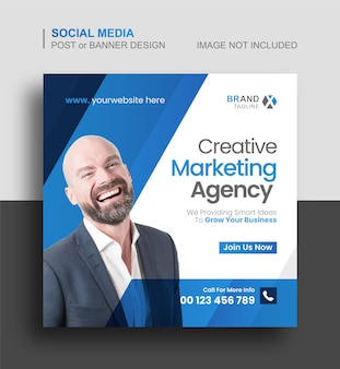 Digitales marketing oder corporate social media instagram-post- und webbanner-vorlage