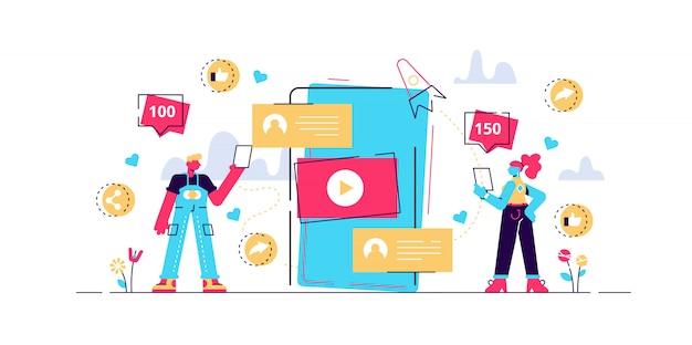 Digitales marketing, online-werbung, smm. app-benachrichtigung, chatten, sms. virale inhalte, erstellung von internet-memen, konzept für gemeinsame masseninhalte. helle lebendige violette isolierte illustration