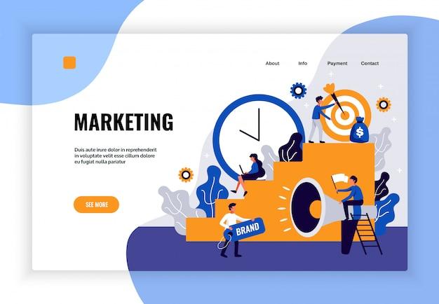 Digitales marketing-seitendesign mit flachen markenentwicklungssymbolen