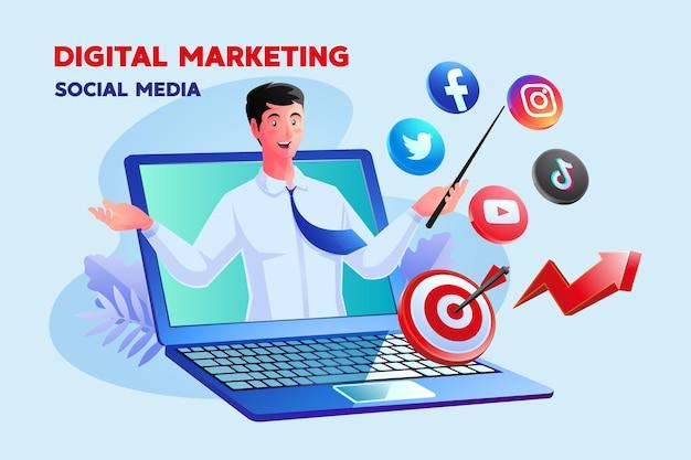 Digitales marketing social media mit einem mann und einem laptopsymbol