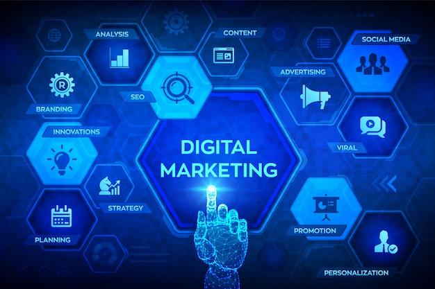 Digitales marketing-technologiekonzept auf virtuellem schirm. roboterhand, die digitale schnittstelle berührt.