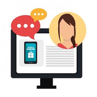 Digitales marketing und online-verkäufe, weibliche figur mit blasenchatikonen