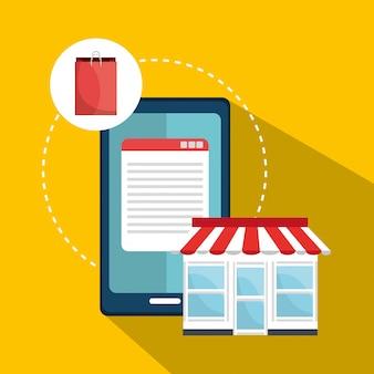 Digitales marketing und online-verkauf, online-shop auf dem pc-display